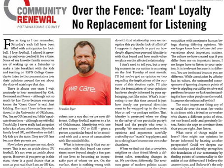 Over the Fence: 'Team' Loyalty No Replacement for Listening