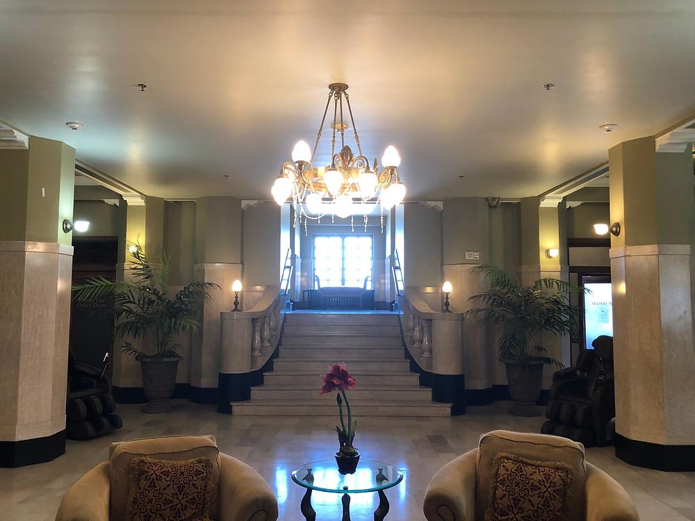 Modern lobby in the historic Aldridge Hotel.