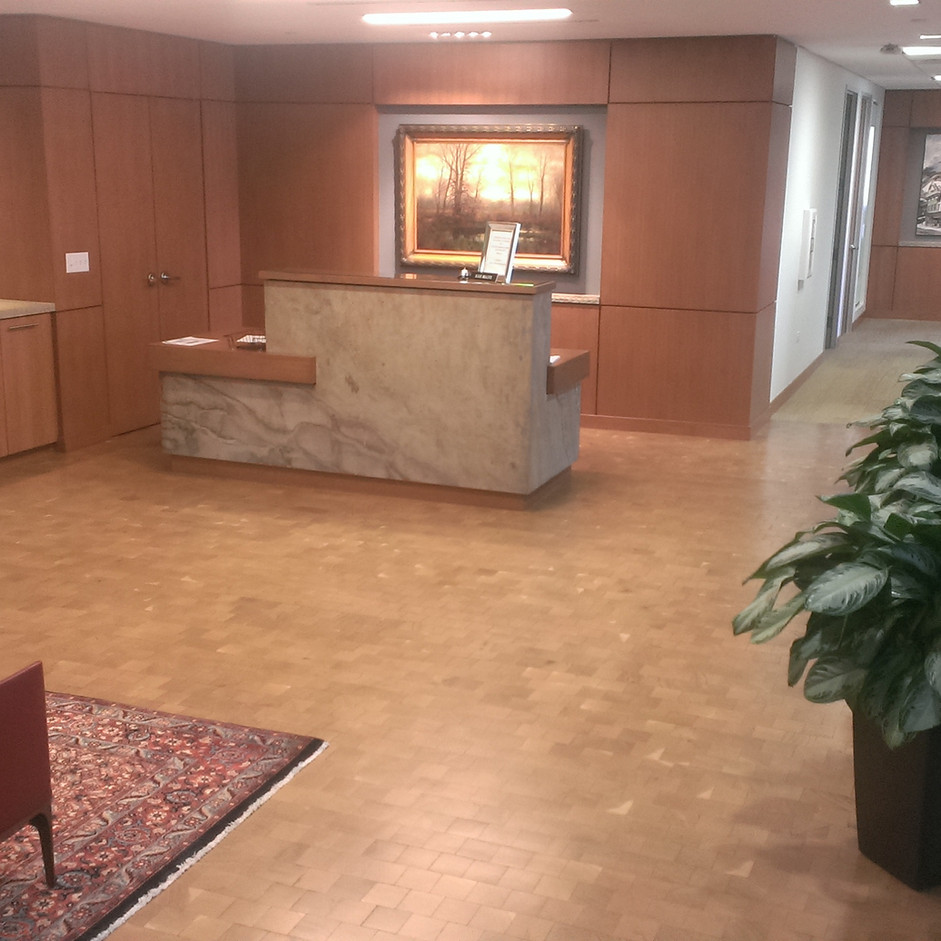 Reception Area, White Oak End Grain Flooring