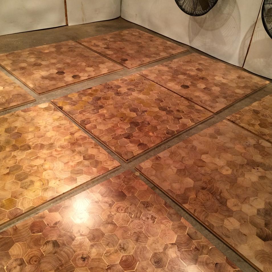 Mesquite hexagon end grain