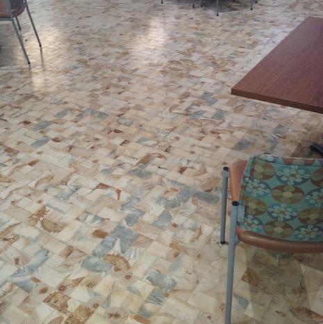 Blue stain pine end grain flooring
