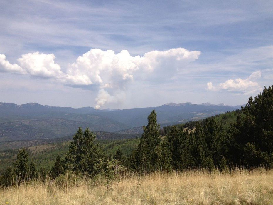 Pecos wilderness view of the fire