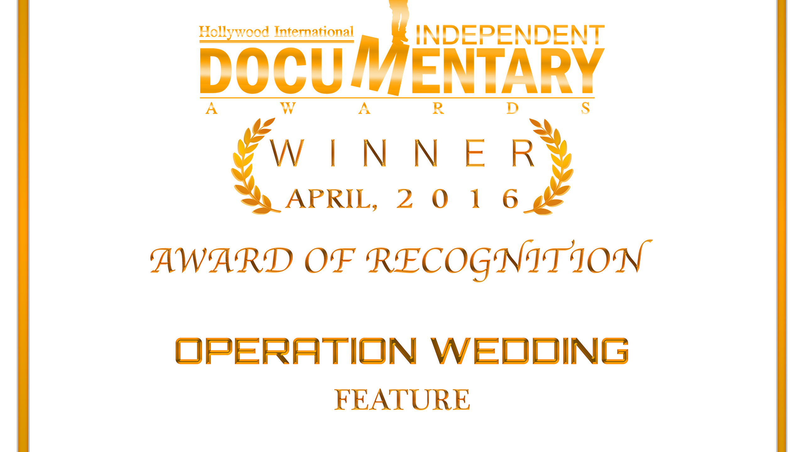 Award of Recognition Documentary Operati