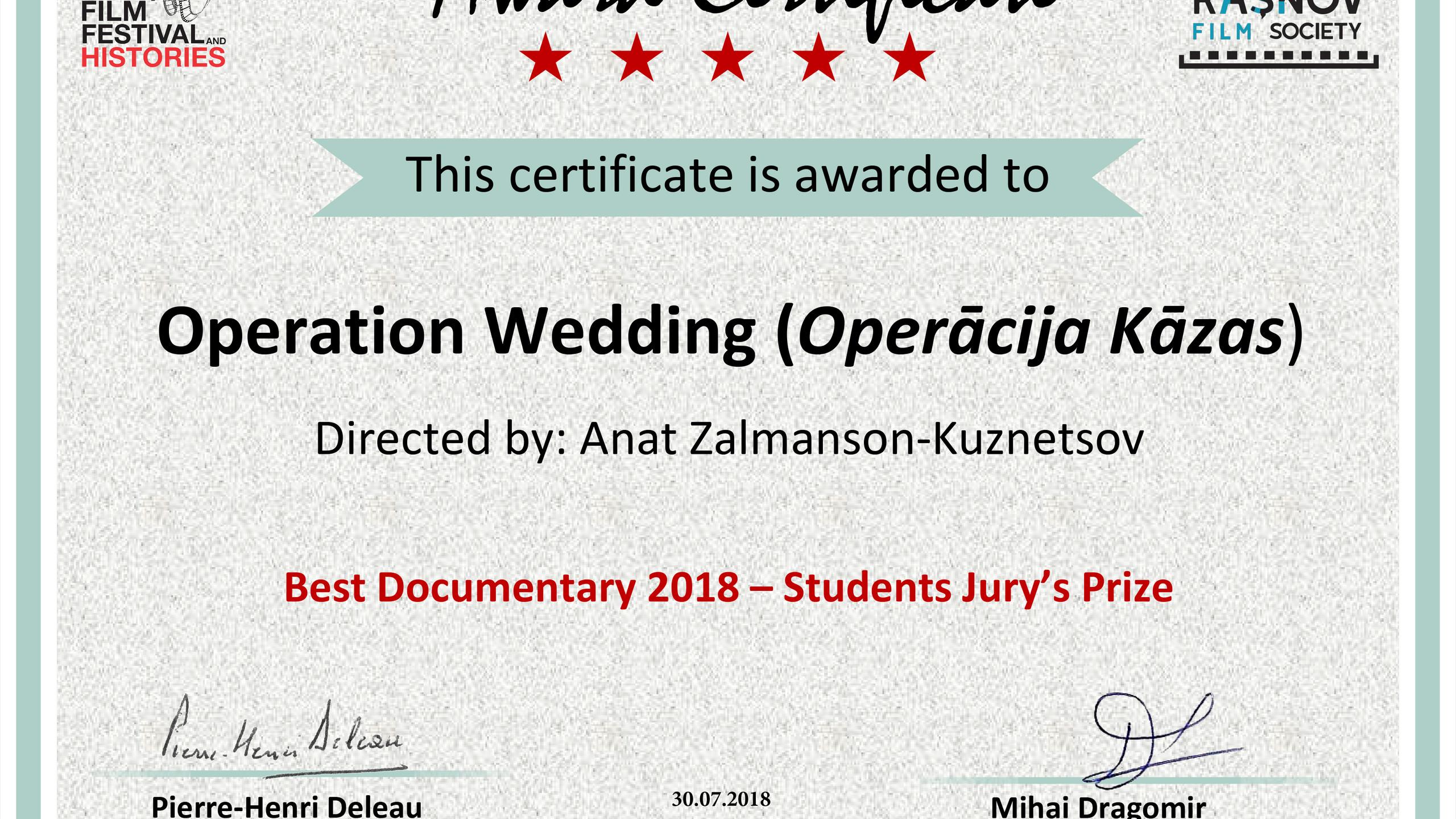 Operation Wedding Certificate rasnov his