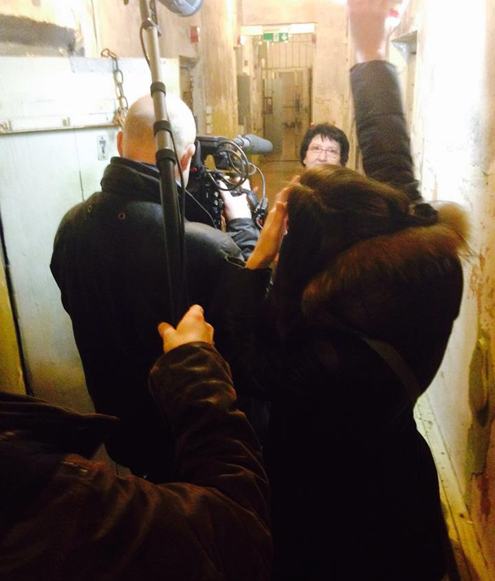Filming Sylva at the KGB prison in Riga