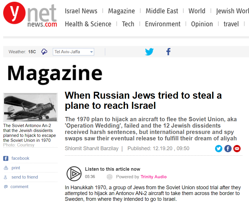 When Russian Jews tried to steal a plane to reach Israel