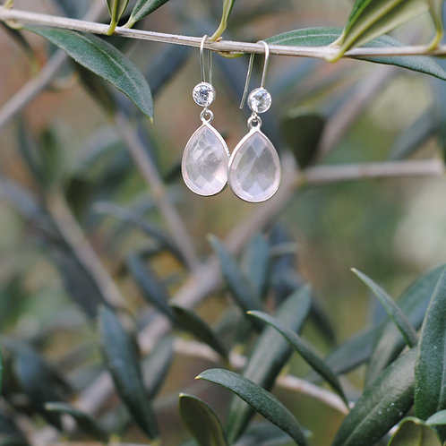 Natural Rose Quartz Earrings
