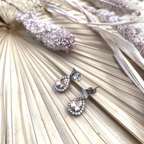 Peach Bridal Drop Earrings