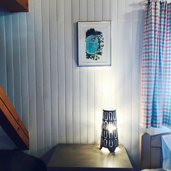 Bright woodwork in the triple bedroom