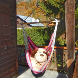 The hammock chair is the perfect spot for a snooze
