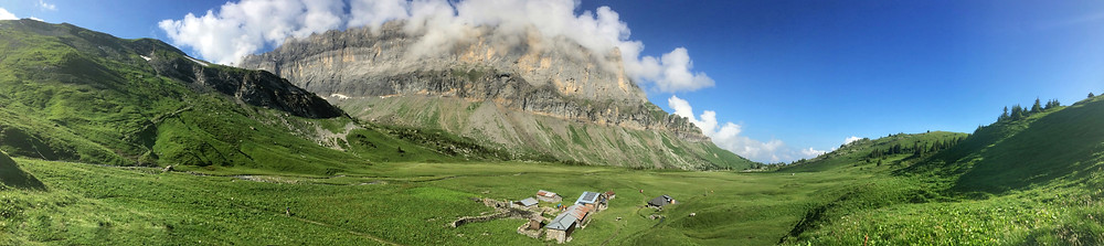Panorama showing Refuge Alfred Wills with the Rochers des Fiz in the background