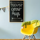 Shot of a blackboard and a chair with gr