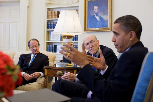 Erskine Bowles and Alan Simpson meet with President Obama to discuss the Commission On Fiscal Responsibility