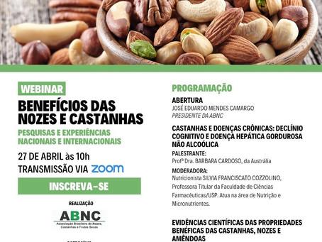 ABNC realiza webinar sobre benefícios de consumo de nozes e castanhas
