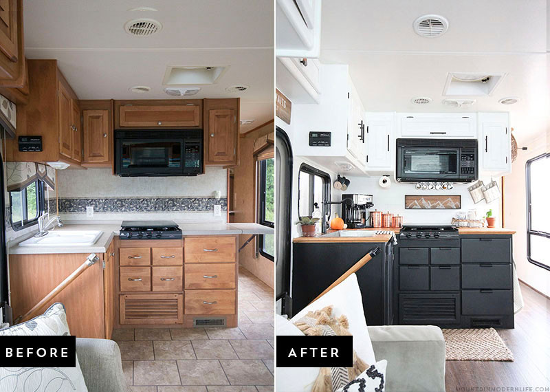 Before and After RV Renovation - MountainModernLife.com