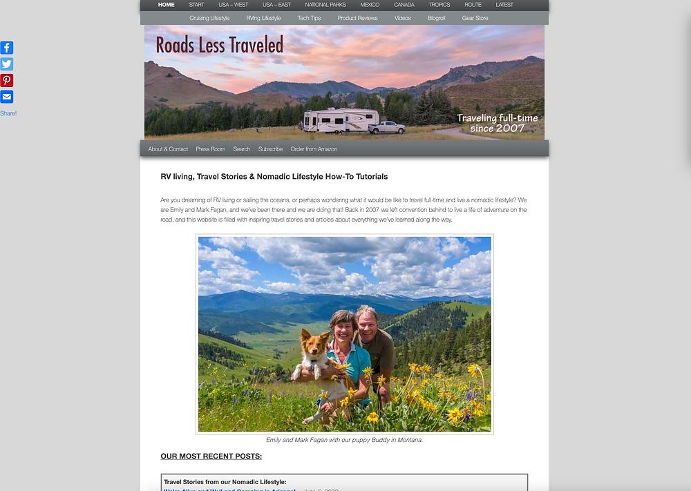 Screenshot of Roads Less Traveled Blog
