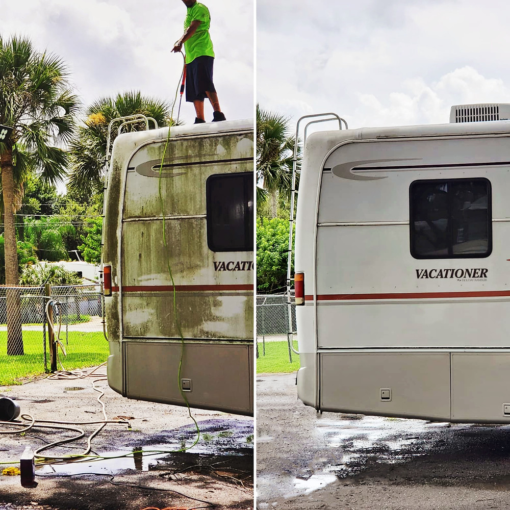 Before And After Cleaning Outside Of RV