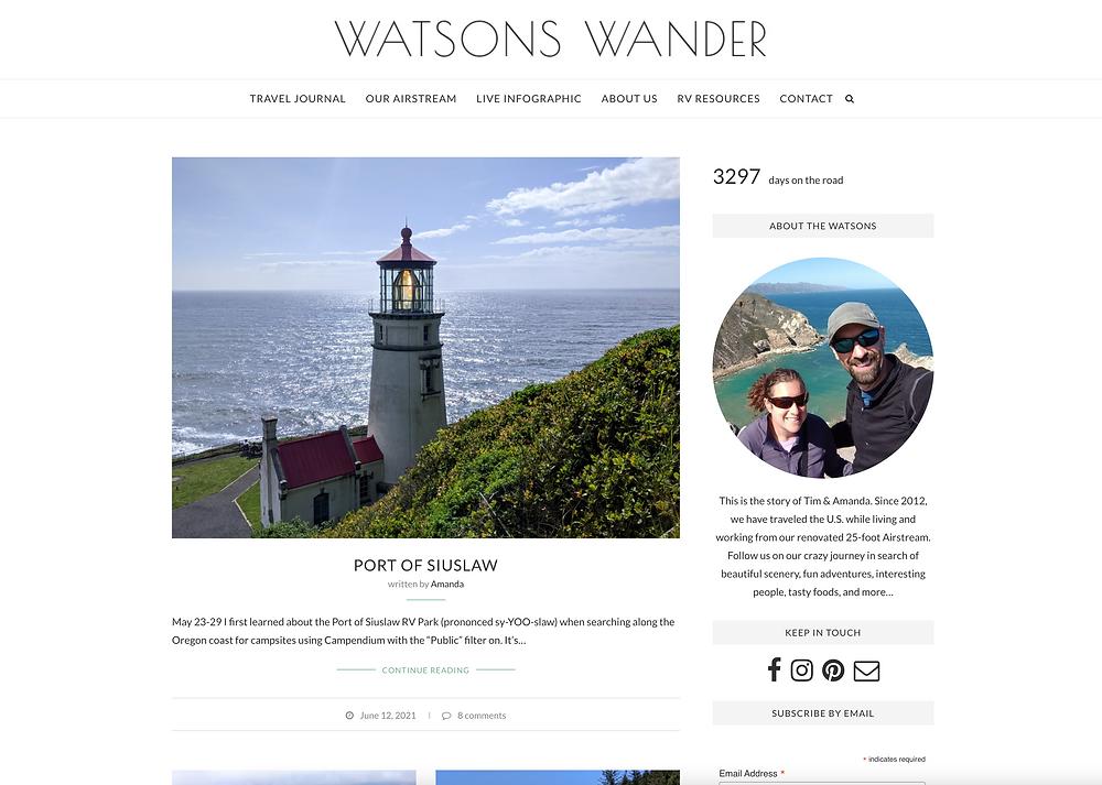 Screenshot of Watson's Wander Blog