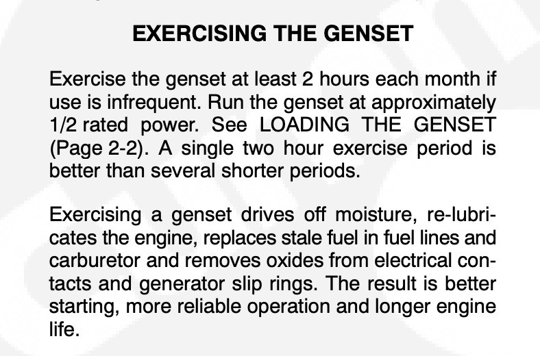 Instructions on Exercising the Genset from Onan General Manual