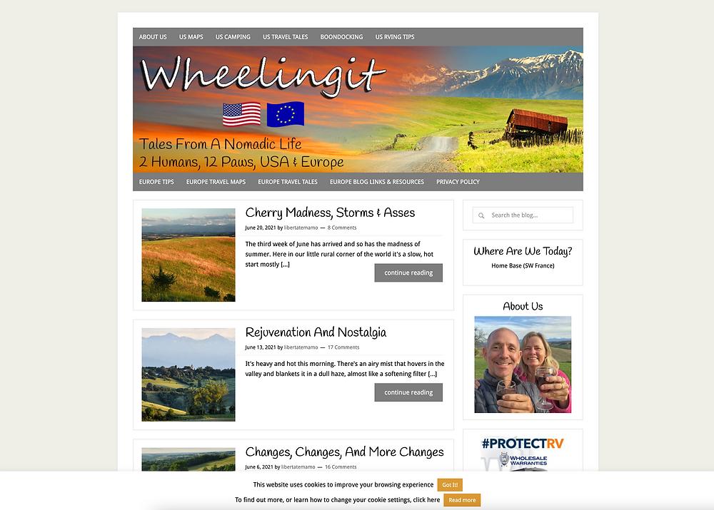 Screenshot of Wheeling It Blog