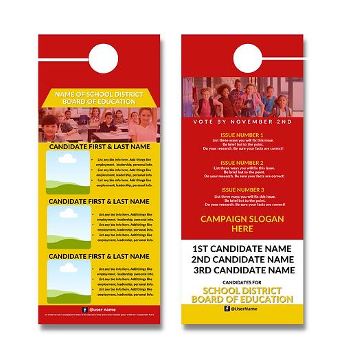 Red & Gold BOE Door Hanger (Three Candidates)