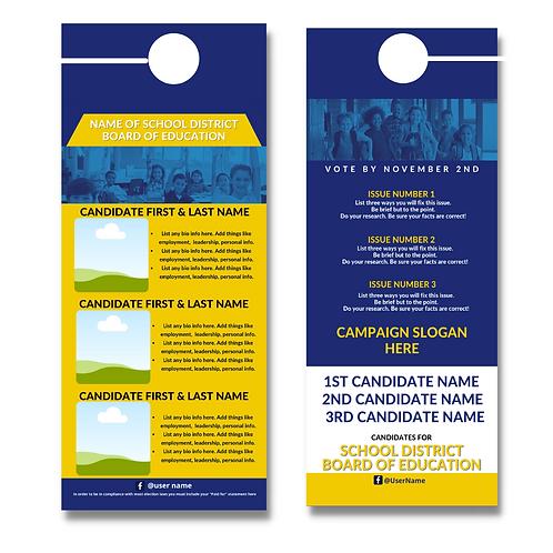 Blue & Gold BOE Door Hanger (Three Candidates)