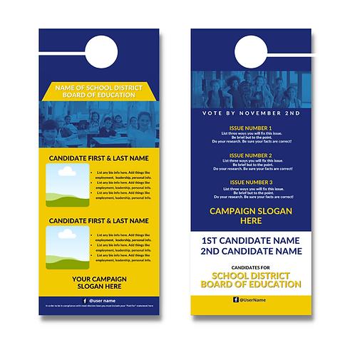 Blue & Gold BOE Door Hanger (Two Candidates)