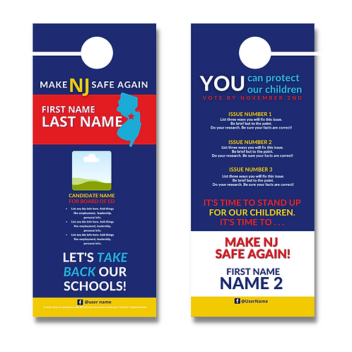 Make NJ Safe Again BOE Door Hanger (One Candidate)