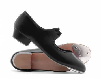 Black PU Low Heel Tap Shoe