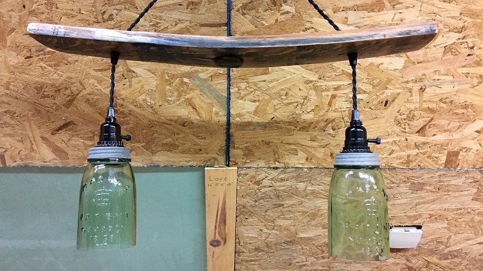 Barrel stave mason jar light