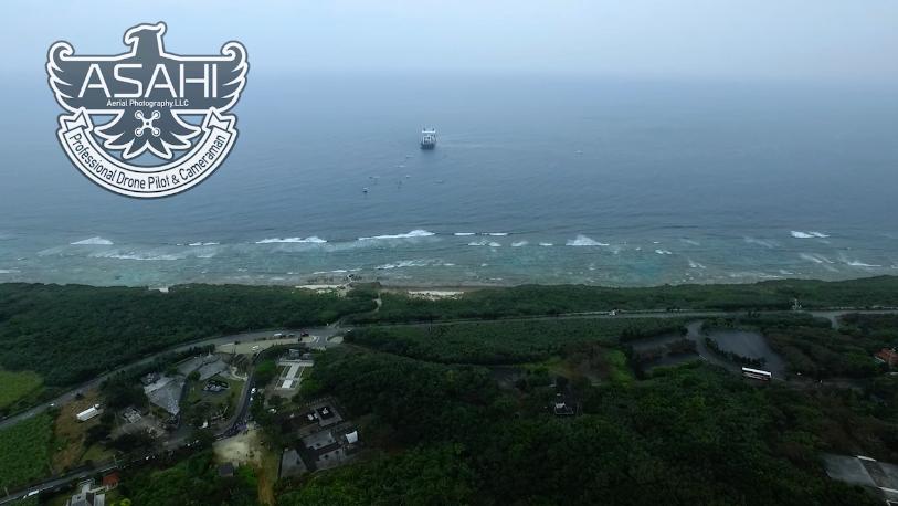 沖縄引き込み船空撮