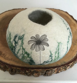 Felt, silk and print bowl
