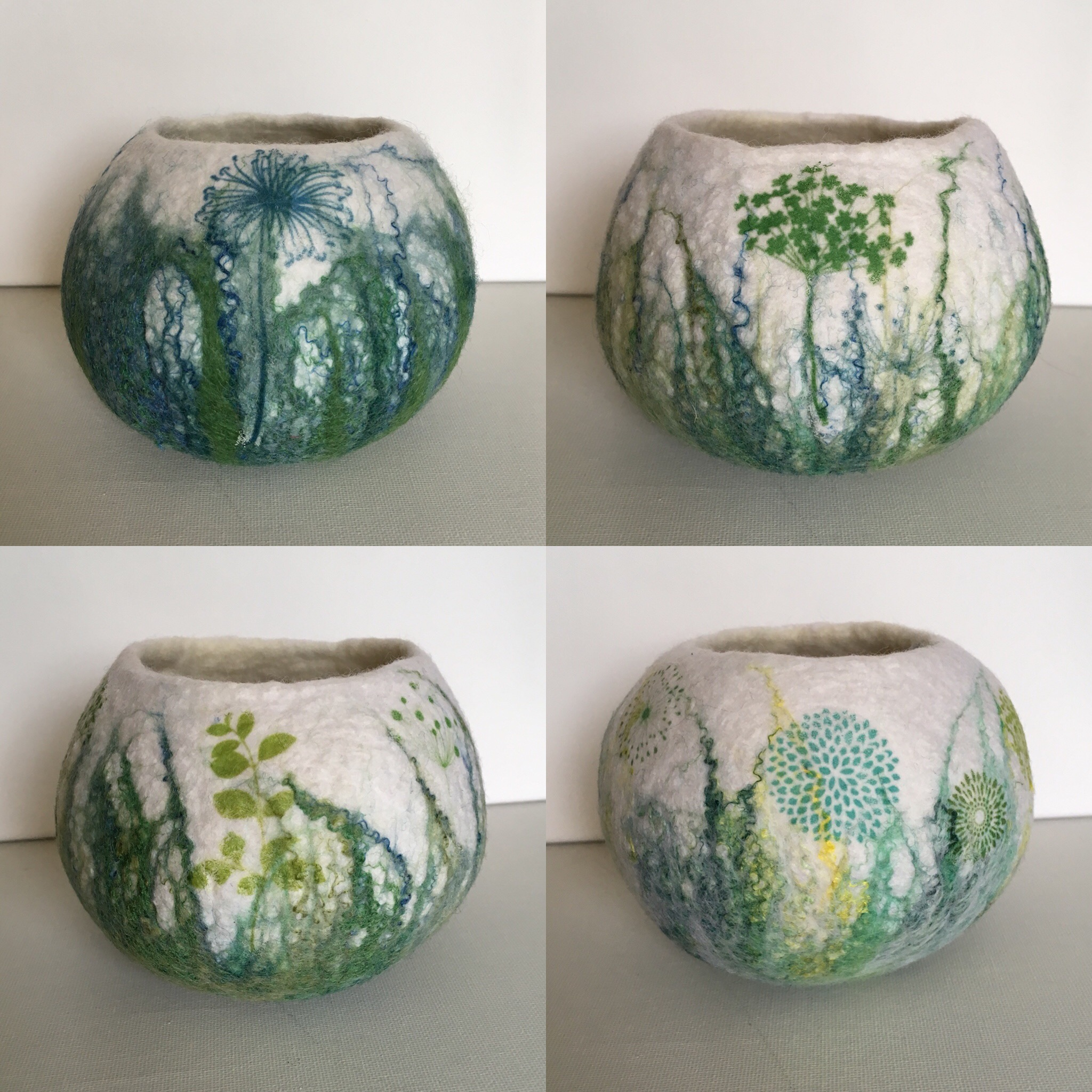 Felt, silk and print bowls