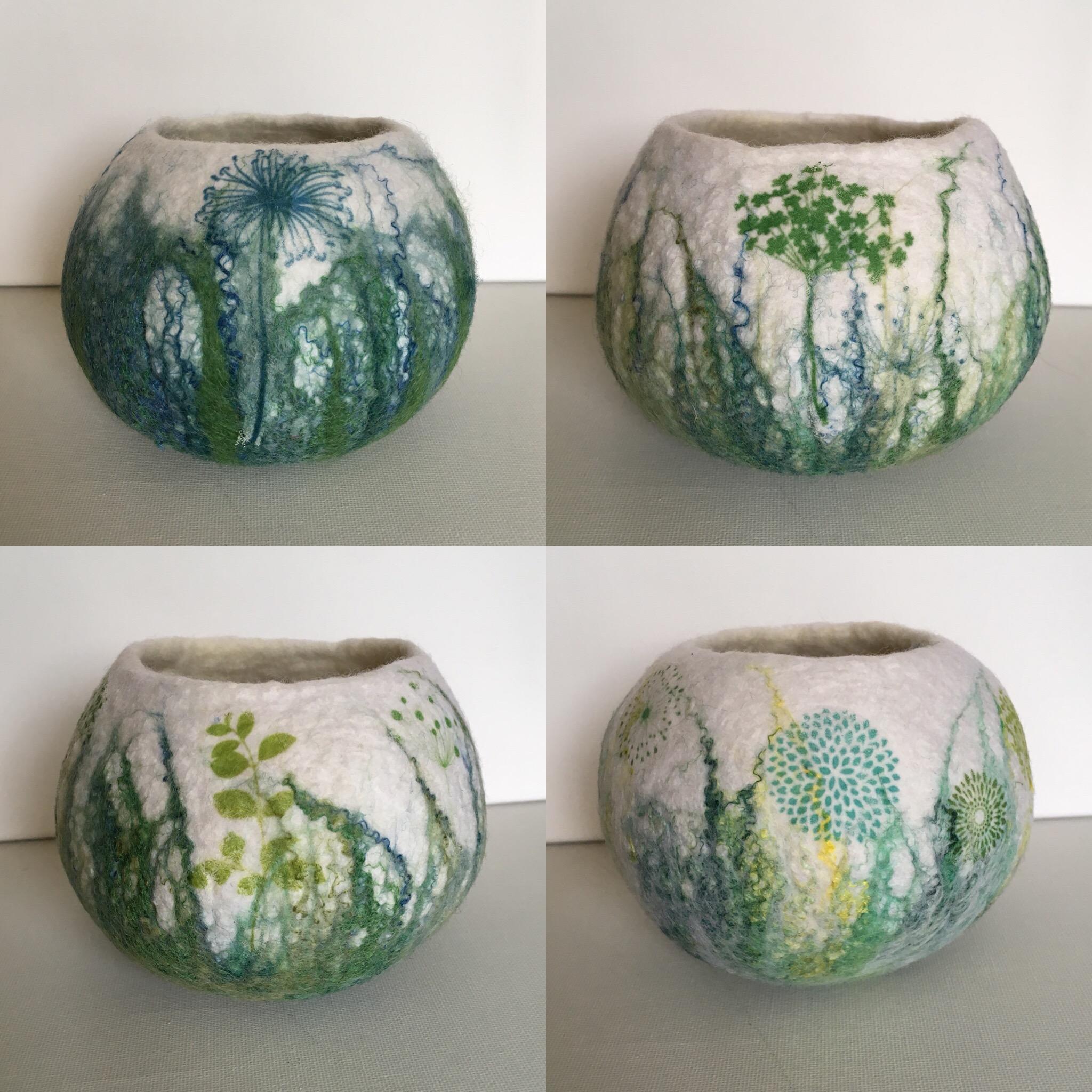 Felt, silk and print bowls