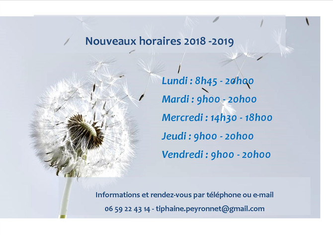 Nouveaux horaires 2018 - 2019