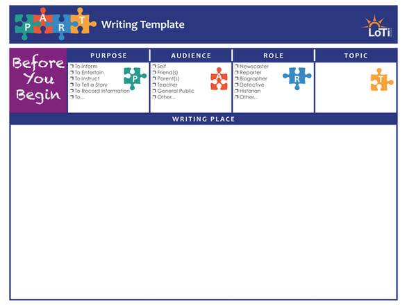 P.A.R.T. Writing Template