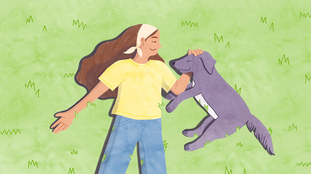 A commission for IWeigh depicting how a young woman's experience volunteering at a dog shelter helps her overcome the hardships of facing an autoimmune disease.