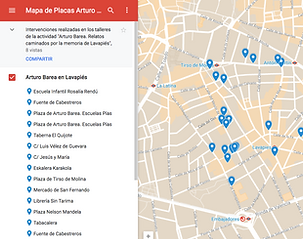 Mapa de placas Arturo Barea en Lavapiés.