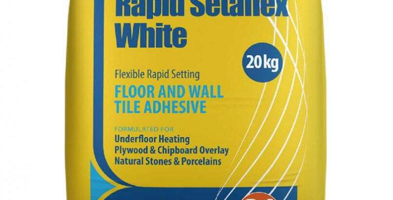 20kg WHITE RAPID-SET SETAFLEX WALL & FLOOR TILE ADHESIVE