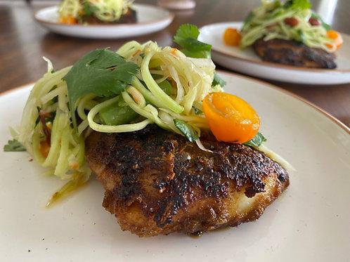 LEMONGRASS-BLACKENED FISH WITH PAPAYA SALAD   Friday 4/2 at 7 pm EST