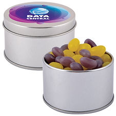 50 gram cello bag of Corporate Colour Mini Jelly Beans packed in 2 piece silver Round Tins. Your choice of jellybeans, choose from 9 great colours and flavours - Orange (Orange), Pink (Raspberry), White (Lychee), Red (Strawberry), Green (Apple), Yellow (Lemon), Black (Aniseed), Purple (Grape), Blue (Blueberry).