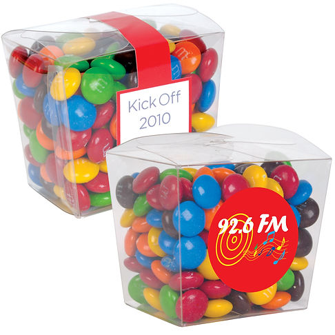 170 grams of assorted colour milk chocolate M&M's (Green, Red, Orange, Yellow, Brown and Blue) packed in clear Mini Noodle Box.