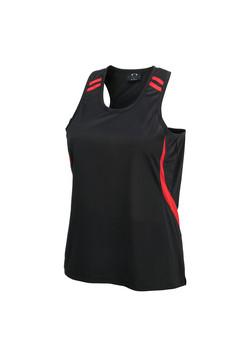Biz LV3125 Ladies Flash Singlet Black-Red
