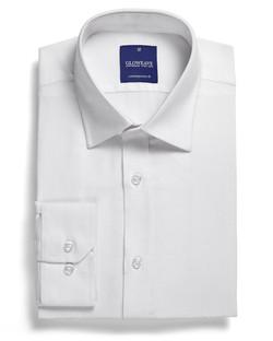 Mens 1708L LS Micro Brick Textured Plain Shirt White