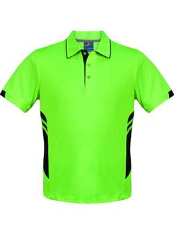 AP 1311 Mens Tasman Polo Neon Green-Black