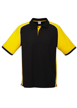 p10112 Mens Nitro Polo Black-Yellow-White