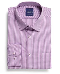 Mens 1637L LS Gingham Check Shirt Lilac