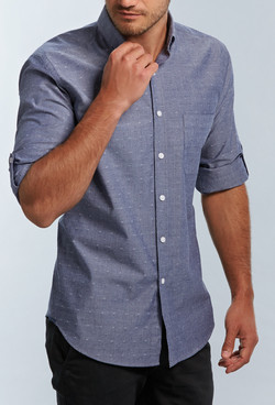 Mens 1713HL Spot Dobby Denim Hospitality Shirt Slate A