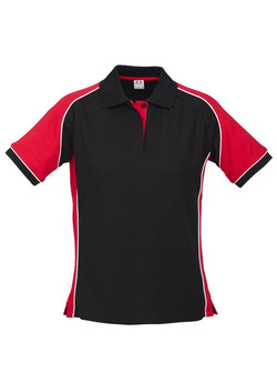 p10122 Ladies Nitro Polo Black-Red-White