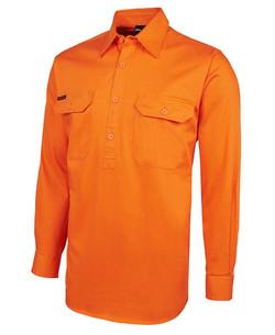 6HVCF Hi Vis LS 190g Close Front Shirt Orange